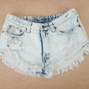 CARMAR Distressed Denim Short Shorts Sz 26
